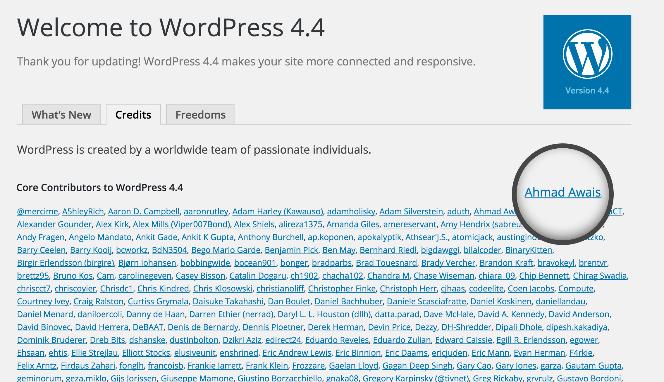 Ahmad Awais Core Contributor at WordPress 4.4