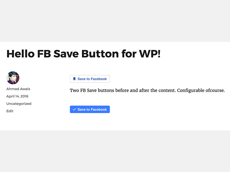 FB Save Button For WP