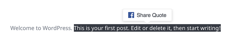 FB Quote Plugin For WP lets people select text on your page and add it to their share on FB