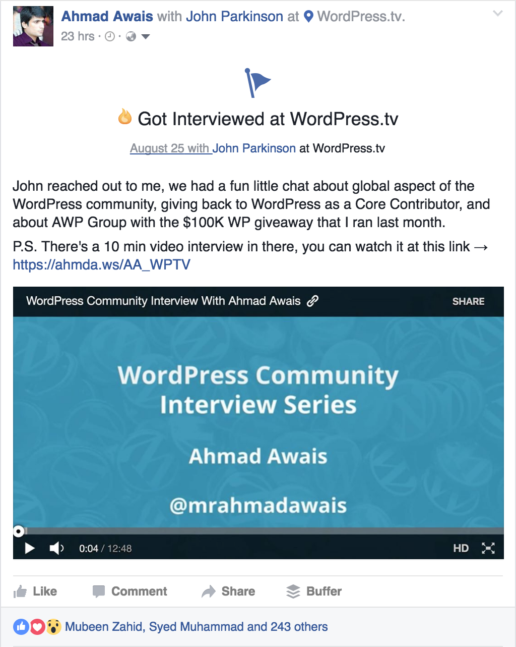 Ahmad-Awais-WP-Community-Interview-fb-post