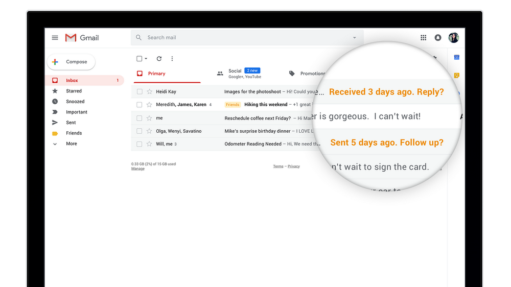 Gmail Nudge to respond and followup