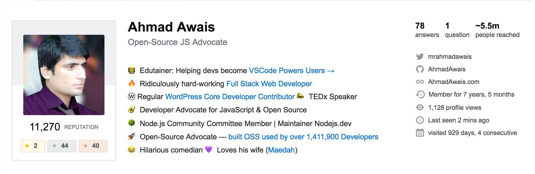 Ahmad Awais 2018 Stackoverflow 5.5mil