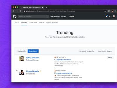 Listed on GitHub Trending Developers for JavaScript