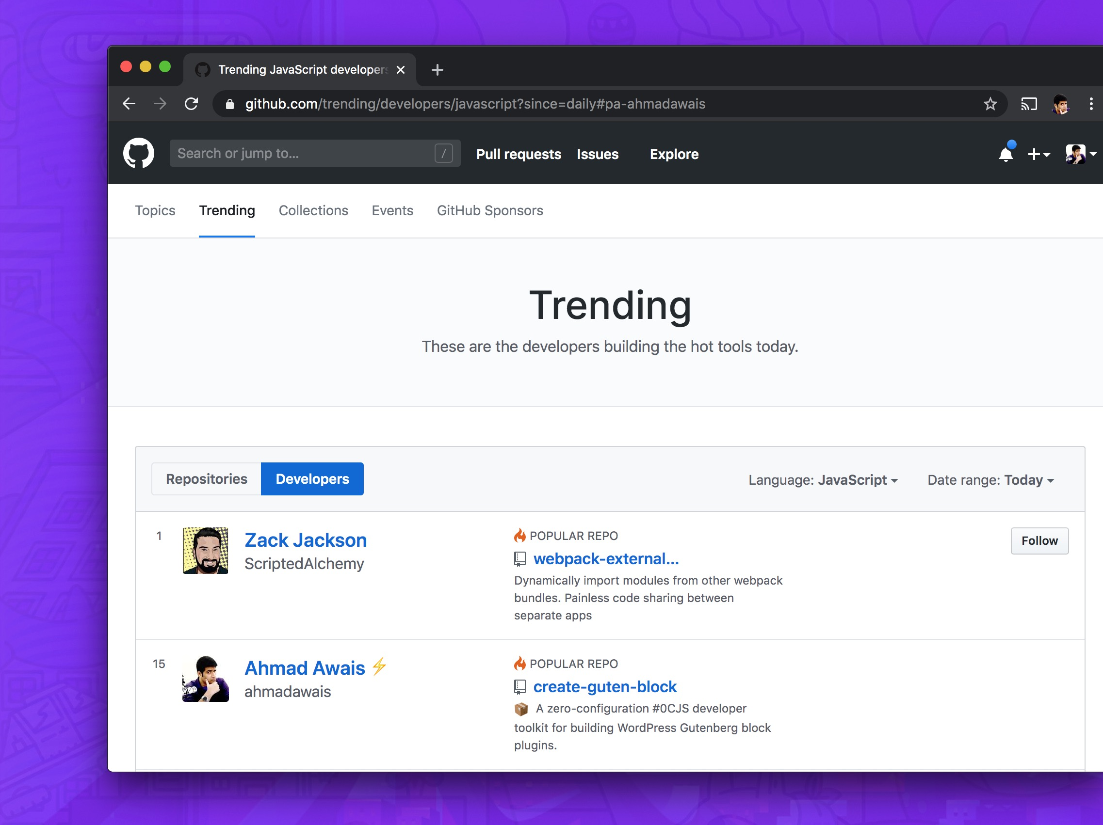 GitHub Trending Develop Javascript