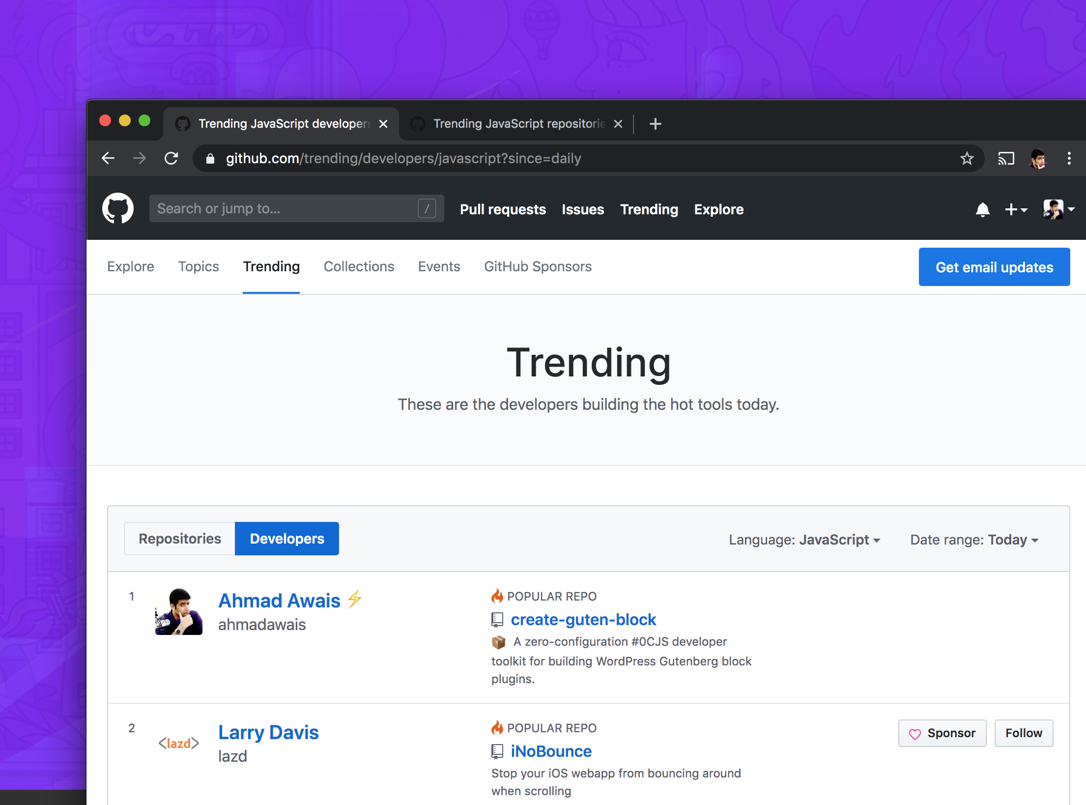 Ahmad Awais GitHub Trending Developer JavaScript